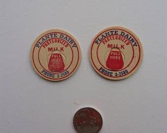 Pair of Vintage Canadian Cardboard Milk Caps, Antique Plante Dairy Farm, Milk Bottle Caps |  Milk | Cream |Red | Canada | Canadian
