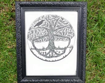 Tree of Life - Crow Wall Art Print of Original Ink Drawing - Limited Edition Signed Illustration