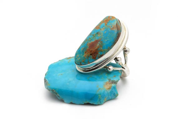 BRAND NEW! Size 8 Lg Genuine Natural Navajo Handmade Turquoise & Sterling Silver Ring Native American jewelry, bohemian beach wedding.