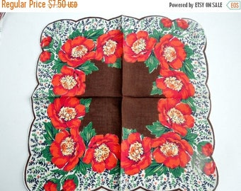 50% SALE Vintage Floral Hanky Orange Poppies Fall Tones Scalloped Edges Party Wedding Bridal Shower Favor Christmas Gift  DIY Seamstress Pro