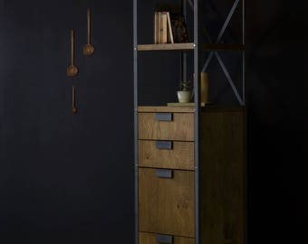 KONK! INDUSTRIAL Filing Cabinet - Solid Oak, Drawers, Office, Bespoke