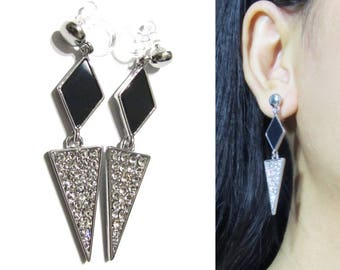 Pavé Crystal Clip On Earrings |31B| Stylish Modern Dangle Clip on Earrings Black Silver Triangle Long Clip-ons Rhinestone Clip Earrings