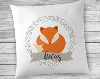 Fox Pillow, Fox Cushion, Nursery Decor Woodland Theme, Woodland Nursery Decor, Personalized Pillows for Kids