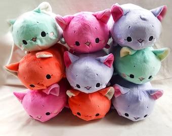 Fuchsia Cat Tsumu Plush // Kawaii Kitty Roll Plushie // Handmade Stuffed Animal Plush Toy // Pink Neko // Ready to Ship