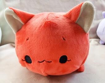 Cherry Cat Tsumu Plush // Kawaii Kitty Roll Plushie // Handmade Stuffed Animal Plush Toy // Red Orange Neko // Ready to Ship