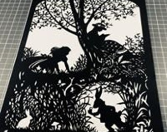 Alice In Wonderland - Down The Rabbit Hole Papercut Art Work - Cut By Hand From A Single Sheet Of Paper