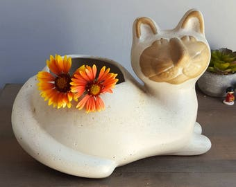 Vintage Large Cat Planter From Lions Valley Stoneware by David Stewart, 1970s, White Glaze And Redware Bisque Face, Mid Century Art Pottery