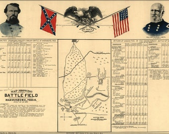 Poster, Many Sizes Available; Battle Field Map Of Harrisburg, Miss. July 13-15, 1864
