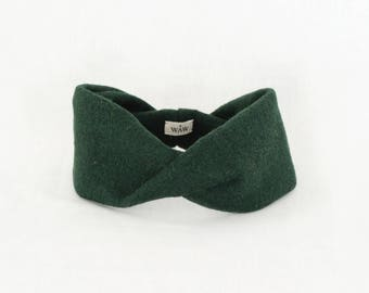 Green fashion headband turban in 100% wool