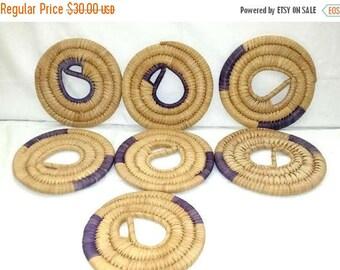 Vintage Hand Woven Trivet,7 PC Set,Woven Coil Hot Plate,Boho,Boho Wall Basket,Rafia Trivet,Purple,Bohemian,Woven Basket,Rustic,Primatives