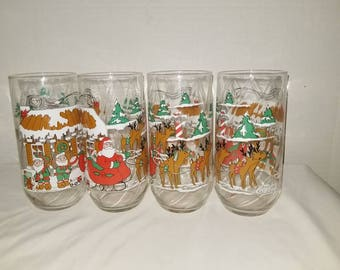 Vintage  Christmas Tumblers,Coca Cola,Coke Glassware,McCrorys Store,,Set of 4,Holiday Table,Vintage Christmas,Christmas Glassware,1980s