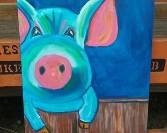 Pig painting, pig art, pig wall art, pig decor, animal painting, pig portrait, original painting, original artwork, 24x30, pig on canvas