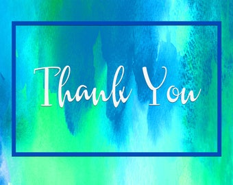 Blue Watercolor Thank You Postcards - 50 for 11.99