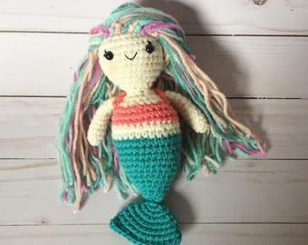 Mini Mermaid - Teal and Pink - Crocheted - Made to Order
