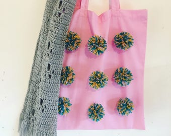 Pastel Pink Pom Pom Tote Bags