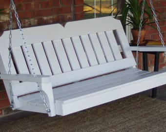 Brand New 4 Foot Painted Victorian Style White Porch Swing -with Hanging Chain or Rope - Free Shipping