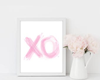 Pink XO Print Art, Office Decor, Print Art, Home Decor, Inspirational, Boss Lady, Girl Boss Motivational Office, Wall Art, Chic Decor, Pink