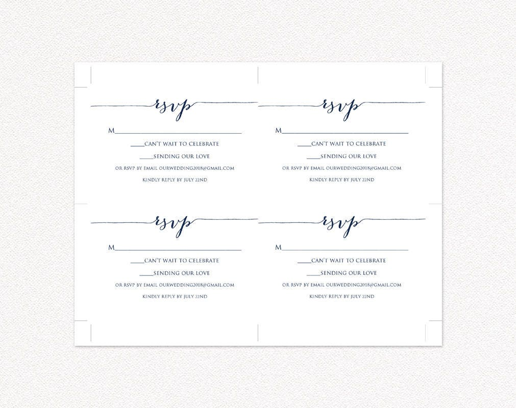 RSVP Card Template Edit Print Instant Download DIY Template - Rsvp card template