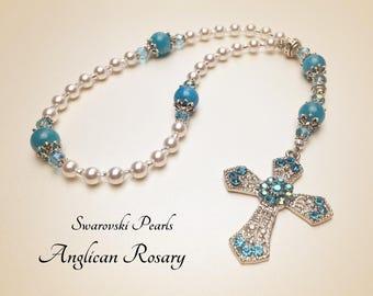 Anglican Rosary. Christian Rosary. Swarovski Pearls Rosary. Anglican Prayer Beads. White Rosary. Episcopal Rosary. Christian Gifts #AR31