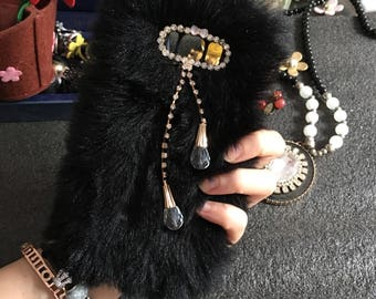 Bling Lovely Black Faux Synthetic Fur Furry Gems Pendant Fashion Jewelled Tassel Crystals Rhinestones Diamonds Hard Case for Mobile Phones