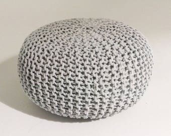 Handmade Knitted Pouf | Glacier Gray | 80x35cm | Hand Knit Pouf Ottoman Footstool