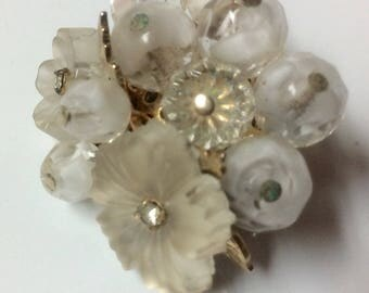 Vintage Signed Coro Cluster Pin with Frosted Glass Flowers Glass Beads Rhinestones