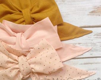 Gorgeous Wrap Trio (3 Gorgeous Wraps)- Golden, Light Pink & Pink Sprinkles Gorgeous Wraps; headwraps; fabric head wraps; bows