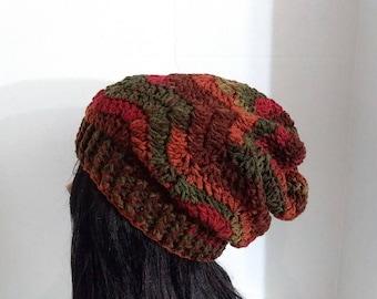 Womens Crochet Hat, Slouchy Beanie,Slouchy Hat, Striped Hat,Pumpkin Hat, Winter Hat