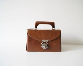 Makeup case synthetic leather brown 70s, cosmetic case, beauty case, cosmetic bag, culture bag