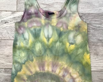 Lotus Pond - Ice Dyed Top - Upcycled Women's M