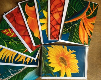 Colorful collection of 8 gift card prints from my original oils; professionally packaged and printed.