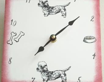 "Ceramic tile Dandie Dinmont dog clock, 6"" square, red border"
