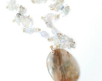 Quartz pendant clear brown gemstone chain boho necklace transparent agate beads  quartz locket gemstone jewelry gift for her boho fluorit