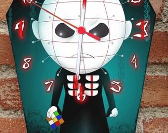 Pinhead the cenobite (Hellraiser). Wooden wall coffin shaped clock. Horror decoration.
