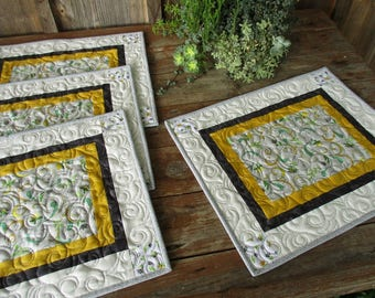 Quilted Placemats, Large Rectangle Table Mats, Summer Table Decor, White Black and Yellow Modern Fabric Placemats, Summer Gift for Home