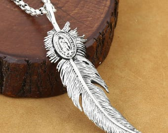 S925 Sterling Silver Pendant,Personality Pendant,Native American Inspired,Feather Pendant,Necklace Pendant