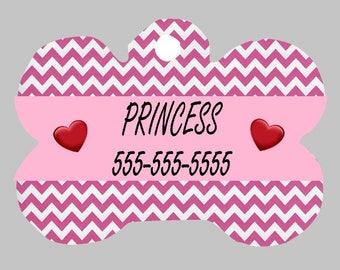 Pink Waves  Pet ID Tag