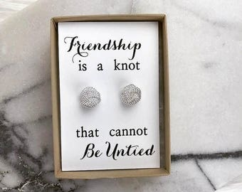 Friendship is a knot that cannot be untied -- Knot Earring -- Bridesmaid Gift -- Bridal Party