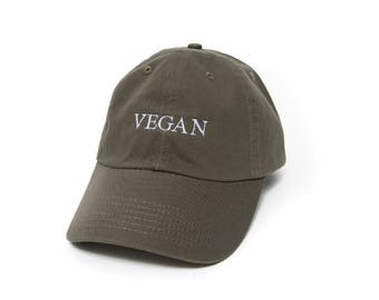 Vegan Hat, Vegan Dad Hat, Vegan Baseball Cap, Vegan Gift, Embroidered Baseball Cap, Adjustable Strap Back Baseball Cap, Low Profile, Olive