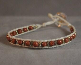 goldstone beaded wrap bracelet