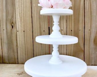Wedding Cake Stand, Rustic Wood Cake Stand