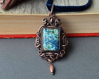 Wire wrapped pendant, chrysocolla pendant, copper wire woven pendant, blue green pendant, steampunk jewelry, chrysocolla jewelry, artisan