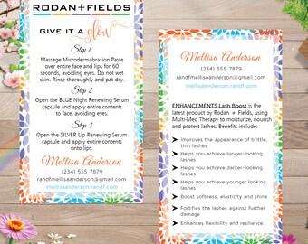 PRINTABLE Rodan and Fields Mini Facial Cards, Rodan And Fields Business Cards, Rodan And Fields Mini Facial Card Give it a Glow RF007