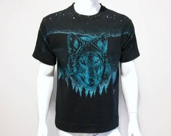Vintage Wolf Shirt All Over Print 90s Animal t-shirt - Size Medium men or Large women