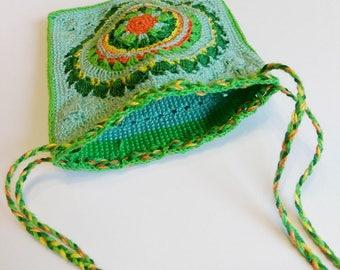 Medicine bag necklace, drawstring purse for Ventolin, Medallion Holder, make up bag, crystals purse, sleep monitor holder, mandala pouch