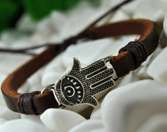 FAST SHIPPING - Leather Bracelet, Hamsa Cuff Bracelet, Men's Bracelet, Mens Leather Bracelet, Brown Leather Bracelet, Women's Bracelet