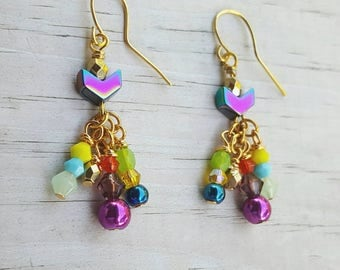 Multi colored bead gold dangle earrings