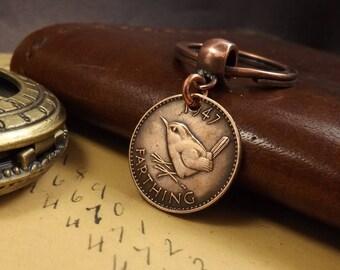 Genuine 1947 TOP DRILLED British Farthing Old Vintage Wren Coin Keychain 71st Birthday Gift