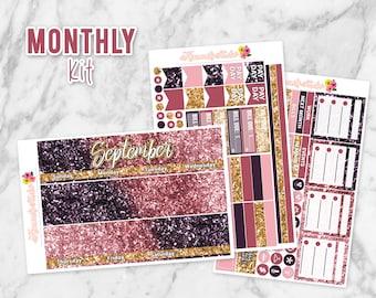 September Glitter Monthly Overview Planner Sticker kit for Erin Condren Life Planners