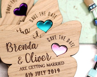 Butterfly Save the date magnet, Wood save the date, Rustic save the date, Wooden Save the date, Butterfly save the date, Wedding magnet